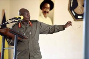 President Museveni explains a point to listening NRM cadres