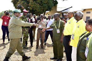 President Museveni with Vice president Edward Sekandi and Prime Minister Rwakana Rukunda