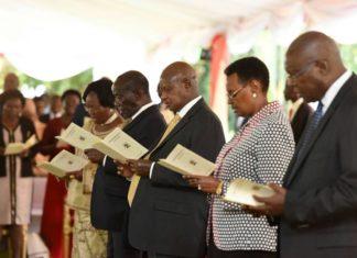 File photo: President Museveni during church service