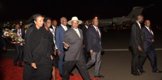 President Museveni arrives for Uhuru Kenyatta's swearing in