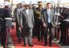President Museveni walks alongside Botswana's President Ian Khama