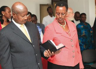 """File photo"""" President Museveni with First Lady Janet Museveni"""