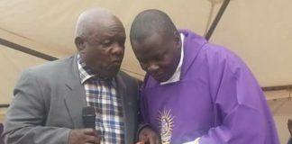 Minister without Minister Portfolio Al-Hajji Abdul Nadduli with Bishop Kibuuka