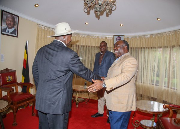 file photo: President Museveni and Ali Bongo of Gabon on arrival for the Inaugural Giants Club Summit in Kenya