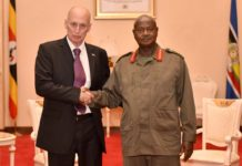 The new Israeli ambassador to Uganda H.E Noah Gal Gendler with President Museveni