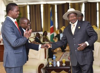 File photo: Zambia's President Edgar Lungu with President Museveni