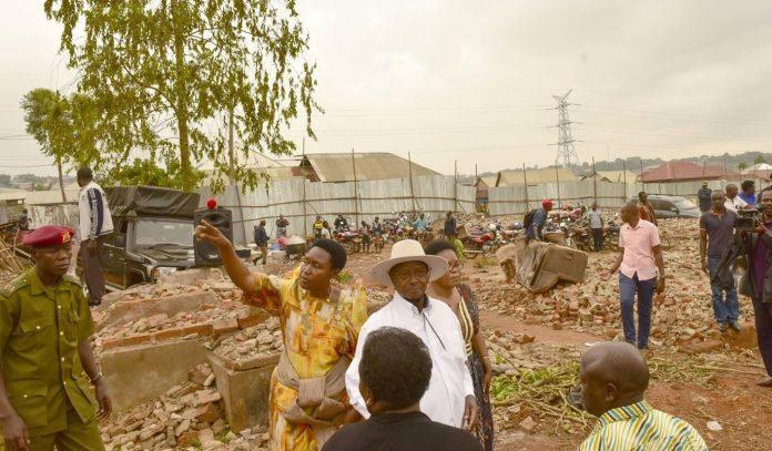 File Photo: President Museveni in Lusanja zone in Wakiso district