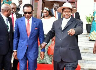 file photo: world's longest serving president Equatorial Guinea's Teodoro Obiang with 5th placed, President Museveni