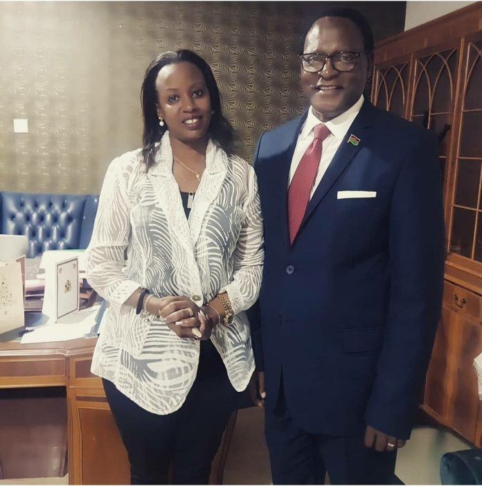 File Photo: Ugandan businesswoman and activists Jannette Mugisha with Malawi opposition presidential candidate Lazarus Chakwera