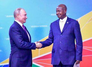 File Photo: President Museveni, with Vladimir Putin