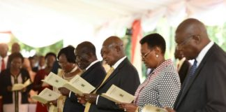 File photo: President Museveni during church service