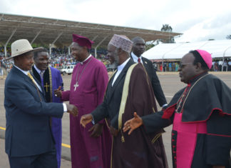 File photo: President Museveni with religious leaders