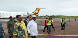 file photo: President Museveni and First Lady at the welcoming ceremony of the 02 two 'Bombardier CRJ 900 early this year