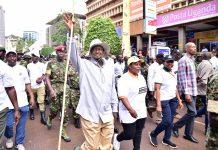 Museveni leads much-derided walk against graft